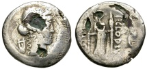 "Ancient Coins - ROMAN REPUBLIC. SILVER ""FOUREE"" DENARIUS. CLAUDIA 15. INTERESTING ANCIENT COUNTERFEIT"