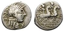Ancient Coins - ROMAN  REPUBLIC. MINUCIA.  122 BC. SILVER DENARIUS.