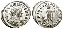 Ancient Coins - CARINUS. AD 282-283. ANTONINIANUS. TICINUM. VERY SILVERY AND NICE.
