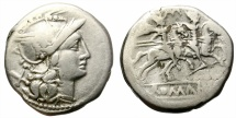 Ancient Coins - ROMAN REPUBLIC. BAEBIA-1. 194-190 BC. AR DENARIUS.