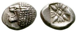 Ancient Coins - MILET, IONIA. OBOL. CIRCA 500 B.C FOREPART OF LION LEFT / INCUSE FLORAL SQUARE.