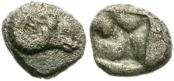 Ancient Coins - OBOL. KEBREN, TROAS. RAM´s HEAD & INCUSE SQUARE. MINIATURE COIN !