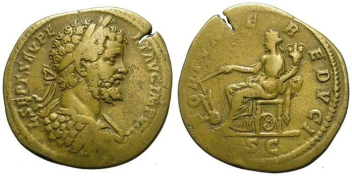 Ancient Coins - SEPTIMIUS SEVERUS. SESTERZ. VF. BEAUTIFUL PORTRAIT ON A HEAVY MODULE