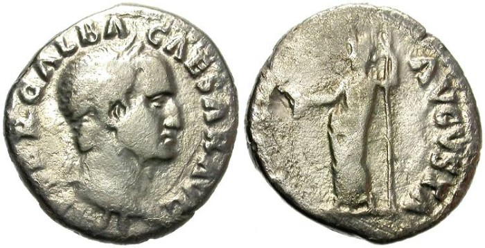 Ancient Coins - FILLING THE HOLE. GALBA. SILVER DENARIUS. MORE THAN DECENT SAMPLE
