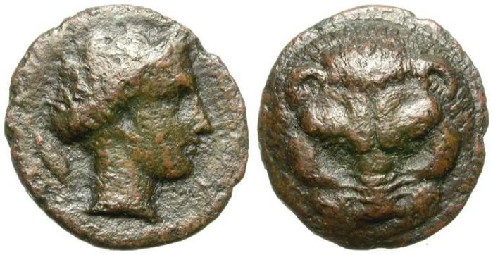 Ancient Coins - BRUTTIUM, RHEGION. INTERESTING BRONCE ISSUE. WORN BUT NICE