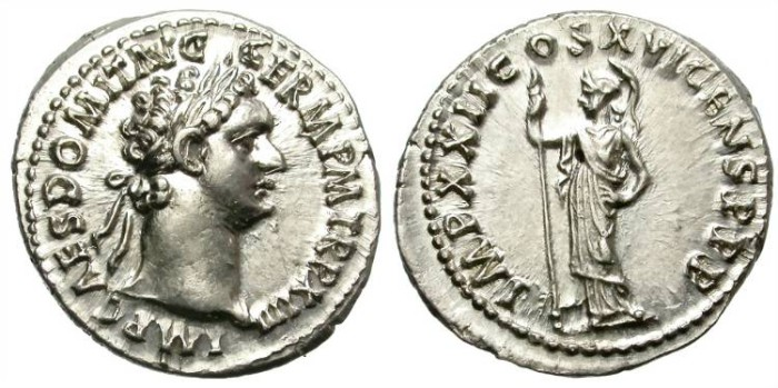 Ancient Coins - DOMITIAN AS AUGUSTUS.  SILVER DENARIUS.  EXTREMELY FINE.  BEAUTIFUL PIECE. WITH MOST OF ITS ORIGINAL LUSTER.