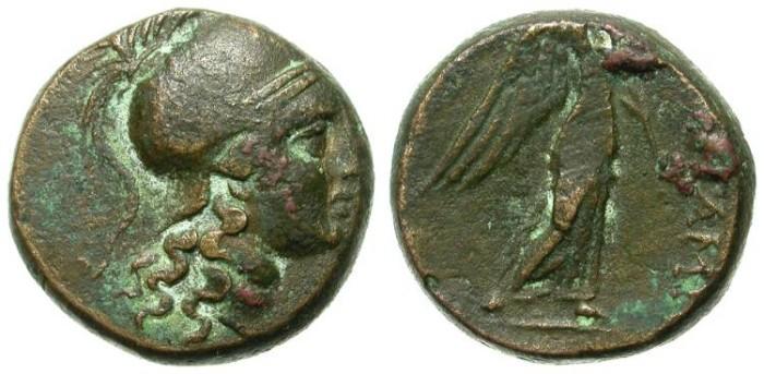 Ancient Coins - PERGAMON, MYSIA. BRONZE ISSUE. ATTRACTIVE ATHENA PORTRAITURE.