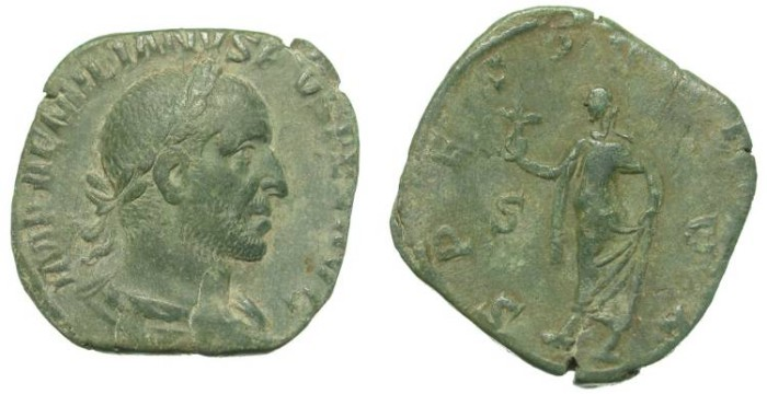 Ancient Coins - AEMILIAN. SESTERZ. NICE OLIVE GREEN PATINA. AMAZING PORTRAIT !