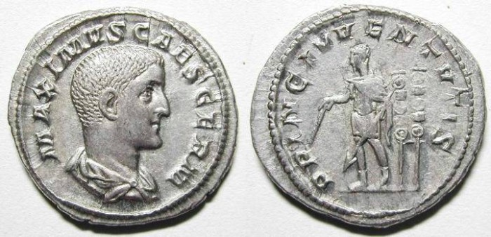 Ancient Coins - MAXIMUS. DENAR. NICE EF. GREAT PORTRAIT
