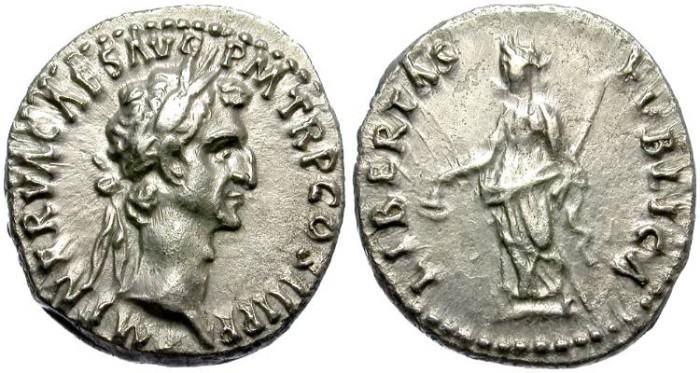 Ancient Coins - NERVA. AR. DENAR. BEAUTIFUL PORTRAIT.