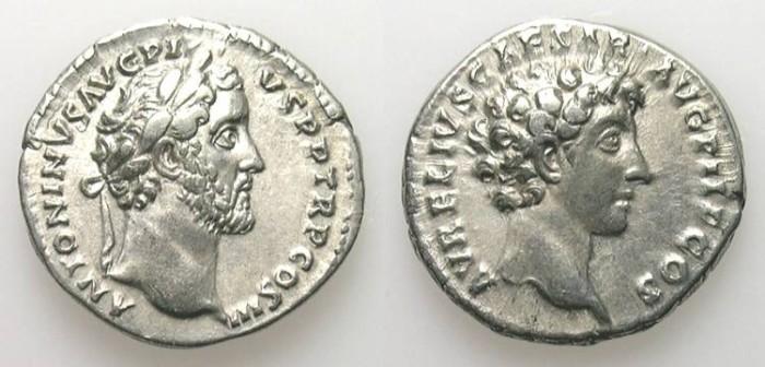 Ancient Coins - ANTONINUS PIUS w. MARC AUREL. DENAR. DOUBLE PORTRAIT NICE VF. QUALITY SILVER !
