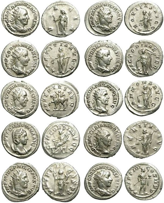 Ancient Coins - LOT OF 10 SILVER ANTONINIANI. DIFFERENT REVERSES. GOOD SILVER CONDITION /1
