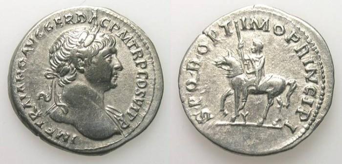 Ancient Coins - TRAJAN. DENAR. GOOD VF. EMPEROR ON HORSEBACK. INTERESTING REVERSE !