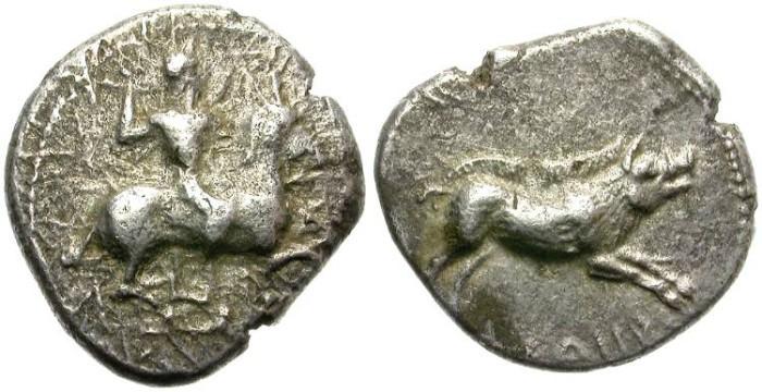 Ancient Coins - ASPENDOS.  AR DRACHM. MOPSOS RIDING HORSE. SCARCE.