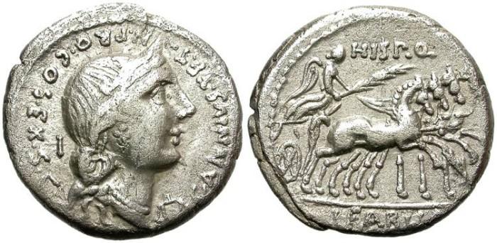 Ancient Coins - ROMAN REPUBLIC. SILVER DENARIUS. ANNIA 5a. VERY RARE !