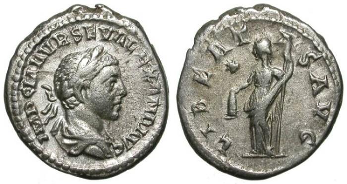 Ancient Coins - SEVERUS ALEXANDER. DENAR. VF. UNUSUAL DOUBLE WEIGHT. VERY RARE !