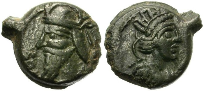 Ancient Coins - PARTHIA. VOLOGASAES IV. BRONZE ISSUE . SELEUKEIA on TIGRIS.  RARE AND SO NICE