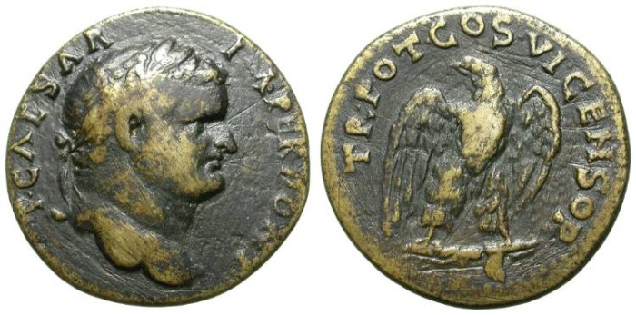 Ancient Coins - TITUS. DUPONDIUS. A VF. RARE ISSUE. AFFORDABLE !