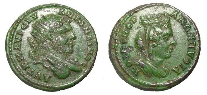 Ancient Coins - CARACALLA  AE  COLONIAL.  SCARCE.