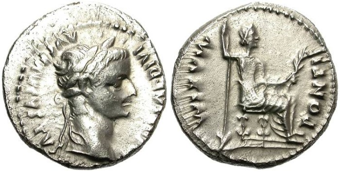 Ancient Coins - TIBERIUS. SILVER DENARIUS. TRIBUTE PENNY. GOOD SILVER