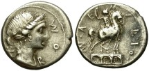 Ancient Coins - ROMAN REPUBLIC. AEMILIA-7 (114-113)BC. SILVER DENARIUS/1. ROME MINT. ATTRACTIVE.