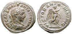 Ancient Coins - ELAGABAL. DENARIUS. 218 A D. ROME. VICTORIA ANTONINI AVG ON REV. VERY WELL CENTERED.