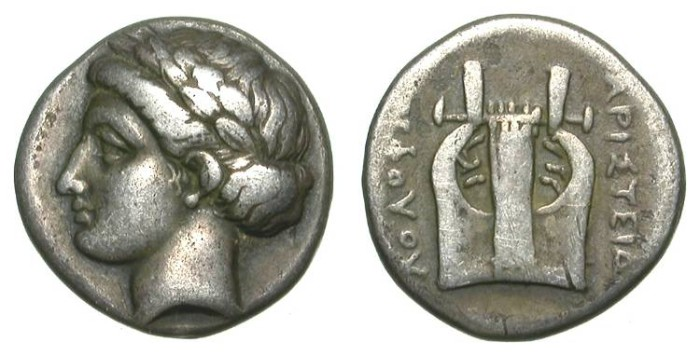 Ancient Coins - KOLOPHON. DRACHM. NICE VF. SUCH A BEAUTIFUL STYLE !