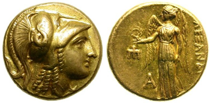 Ancient Coins - ALEXANDER THE GREAT. GOLD STATER. AMPHIPOLIS MINT. BEAUTIFUL COIN