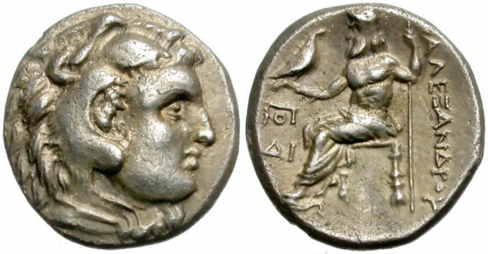 Ancient Coins - ALEXANDER III. 336-323 BC. AR DRACHM. NICE BUST OF ALEXANDER.
