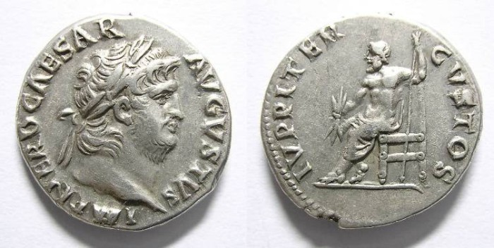 Ancient Coins - NERON  DENARIUS. R/ IUPPITER  CUSTOS. BEAUTIFUL  PORTRAIT.