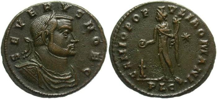 Ancient Coins - SEVERUS II AS CAESAR. AD 306-307   FOLLIS. LUGDUNUM MINT. GOOD PORTRAIT. SCARCE.