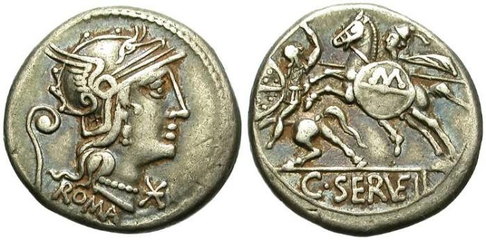 Ancient Coins - ROMA REPUBLIC. SERVILIA-6.  SILVER DENARIUS.  ATTRACTIVELY TONED.