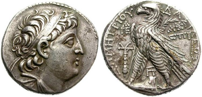 Ancient Coins - SELEUCID KINGDOM.  DEMETRIOS II NICATOR. 129-125 BC. AR TETRADRACHM. TYRE MINT. NICE PORTRAIT.