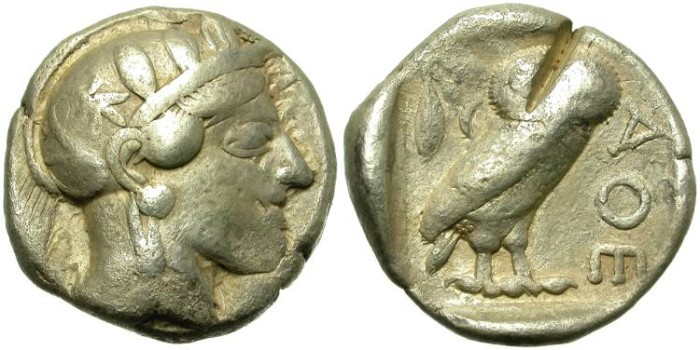 Ancient Coins - ATHENS,  SILVER TETRADRACHM.  EMBLEMATIC  PIECE.