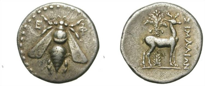Ancient Coins - EPHESUS. DRACHM. NICE BEE. WELL CENTERED!