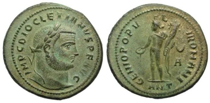Ancient Coins - ROMAN TETRARCHY 2/2. DIOCLETIAN. LARGE MODULE FOLLIS. ANTIOCH. NICE ISSUE