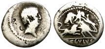 Ancient Coins - L. LIVINEIUS REGULUS. 42 B.C. DENARIUS. SCENE WITH GLADIATORS FIGHTING WILD ANIMALS