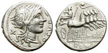 Ancient Coins - ROMAN REPUBLIC. SILVER DENARIUS. CURTIA-2. ATTRACTIVE STRIKE