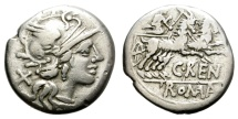 Ancient Coins - ROMAN REPUBLIC. RENIA 1. 138 BC. AR DENARIUS.  ATTRACTIVE.
