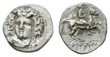Ancient Coins - LARISSA IN THESSALY. TRIHEMIOBOL. NICE DEPICTION OF NIMPH/HORSE & RAIDER