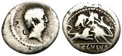Ancient Coins - L. LIVINEIUS REGULUS. 42 B.C. DENARIUS. SCENE WITH GLADIATORS FIGHTING WILD ANIMALS