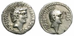 Ancient Coins - MARC ANTHONY. SILVER DENARIUS. LUCIUS ANTONIUS ON REV. VERY RARE. NICE ISSUE/1