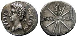 Ancient Coins - AUGUSTUS. DENARIUS. CAESAR AUGUSTA MINT. WITH REFERENCE TO JULIUS CAESAR.  COMET ON REV.