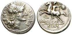 Ancient Coins - ROMAN REPUBLIC. SERGIA. AR DENARIUS.  116-115 B.C. GOOD QUALITY.