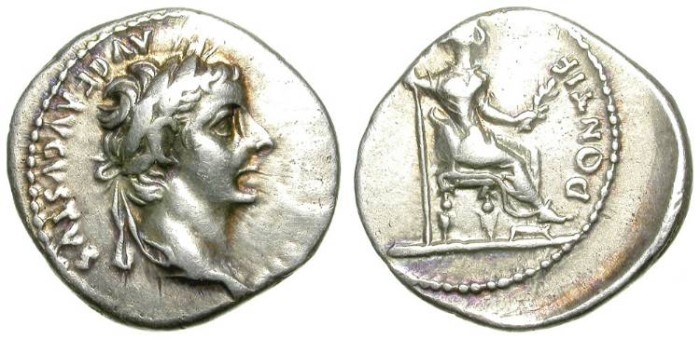 Ancient Coins - TIBERIUS. DENAR. TRIBUTE PENNY. VERY GOOD SILVER CONDITION.