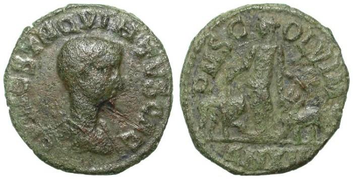 Ancient Coins - HOSTILIAN. AE FROM VIMINACIUM. LATIN LEGEND. RARE EMPEROR !