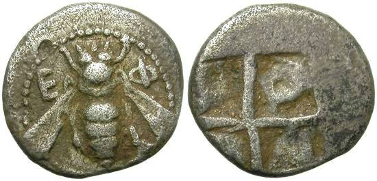 Ancient Coins - EPHESUS, IONIA, DIOBOL. ARCHAIC  PERIOD. BEAUTIFUL MINIATURE.