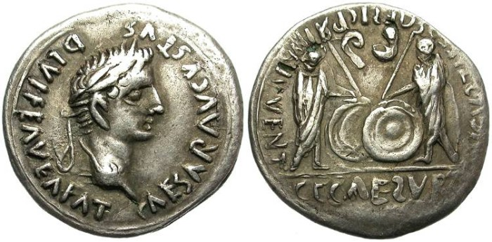 "Ancient Coins - AUGUSTUS. 27 BC-14 AD. AR FOUREE IMITATIVE ""DENARIUS"". NICE TONING. ATTRACTIVE BARBARIC BUST. RARE"