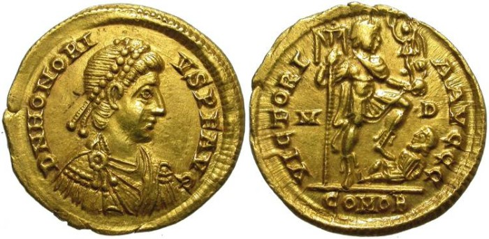 Ancient Coins - HONORIUS. GOLD SOLIDUS. MEDIOLANUM MINT (MILANO). RIGHT LOOKING BUST.