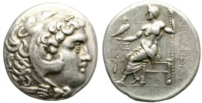 Ancient Coins - ALEXANDER III THE GREAT. SILVER TETRADRACHM. NICE PORTRAIT. GOOD CONDITION